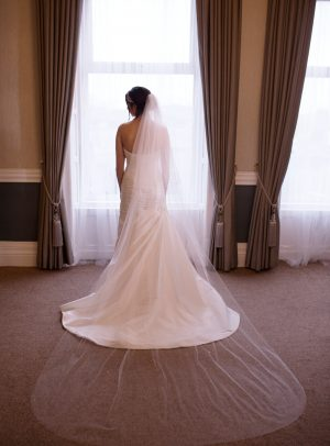 TB18-06 two layer cathedra length veil with crystals